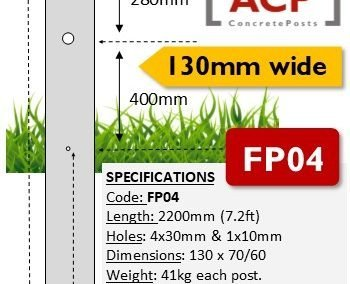 FP04 – 2.2m (7.2ft) with 4 Barb Hole Concrete Fence Post (130mm wide)
