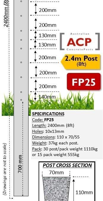 FP25 – 2.4m (8ft) Concrete Fence Post