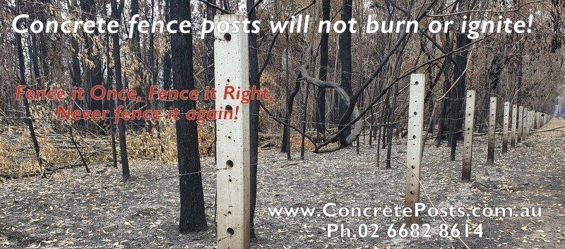 Burnt Concrete Fence Posts